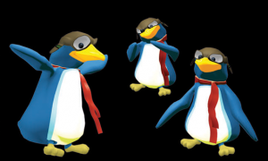 Penguin in 3D outside his short film environment