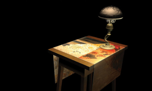 Table and lamp close-up Low poly table, high poly lamp